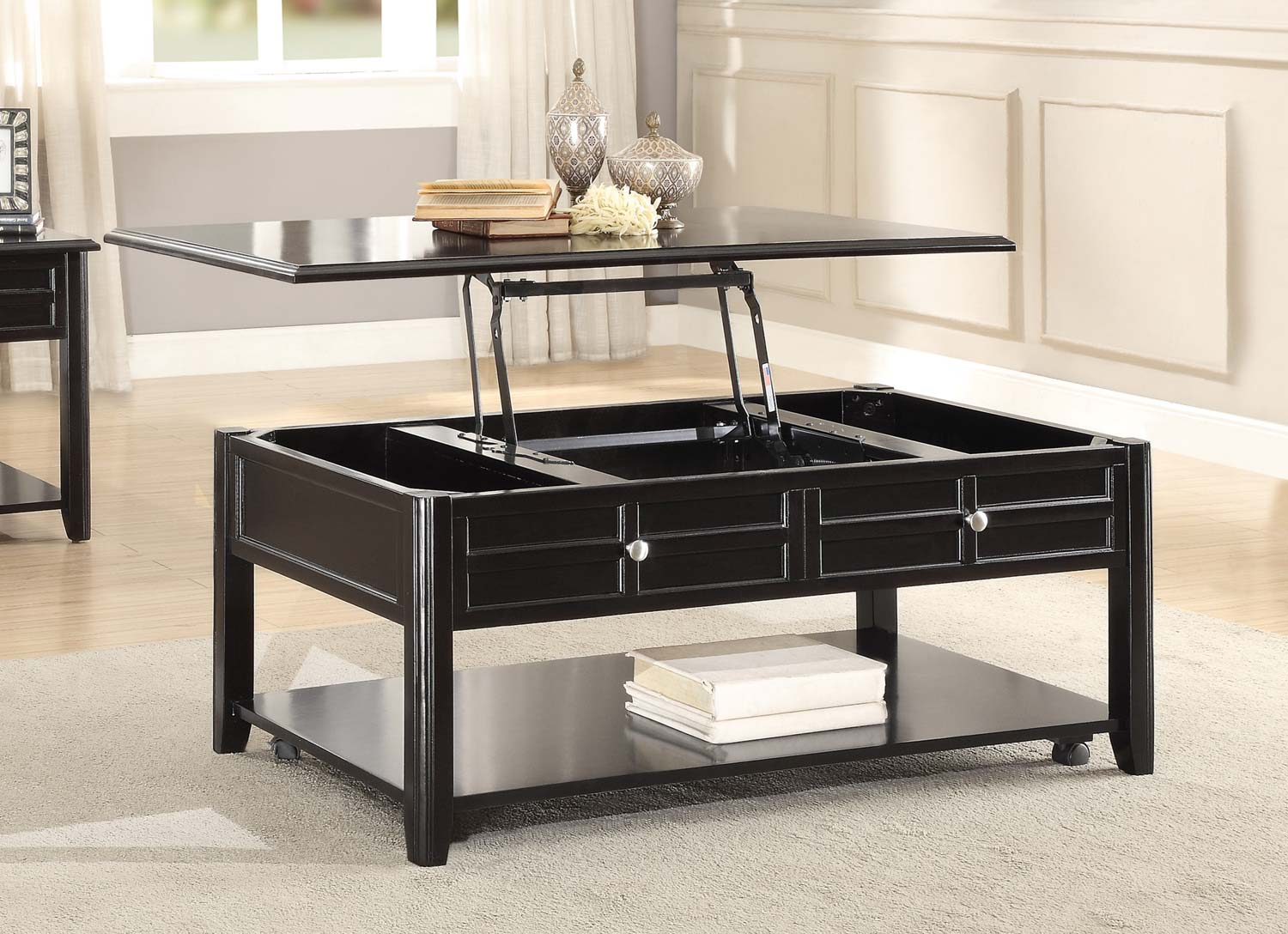 Homelegance Carrier Cocktail Table with Lift Top on Casters - Dark Espresso