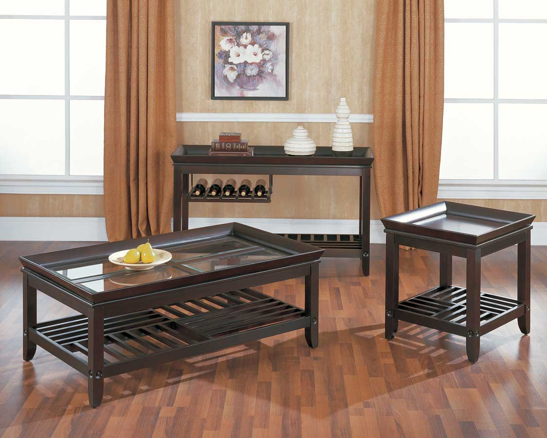 Homelegance Madana Cocktail Table with Glass Insets