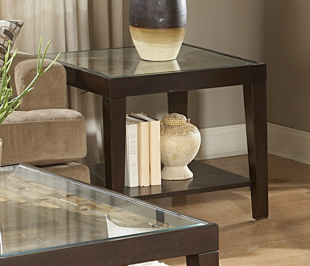 Homelegance Vincent End Table with Glass Top