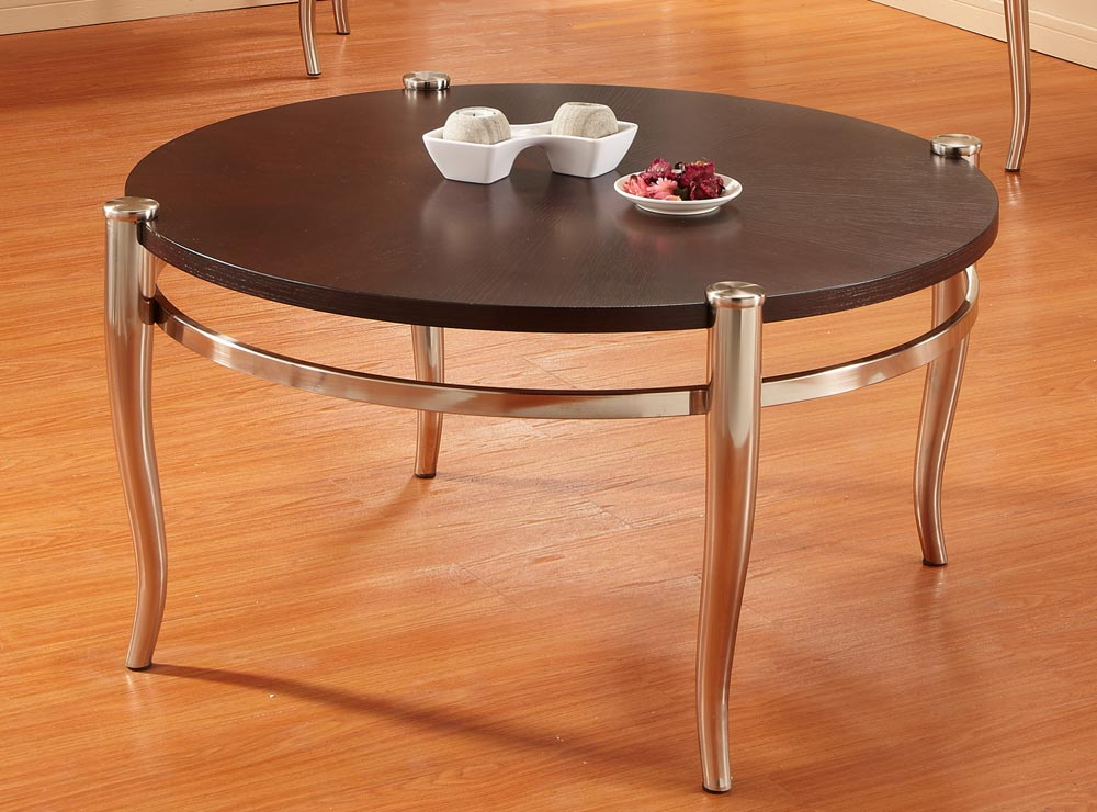 Homelegance coffey round cocktail table brushed nickel for Brushed nickel coffee table
