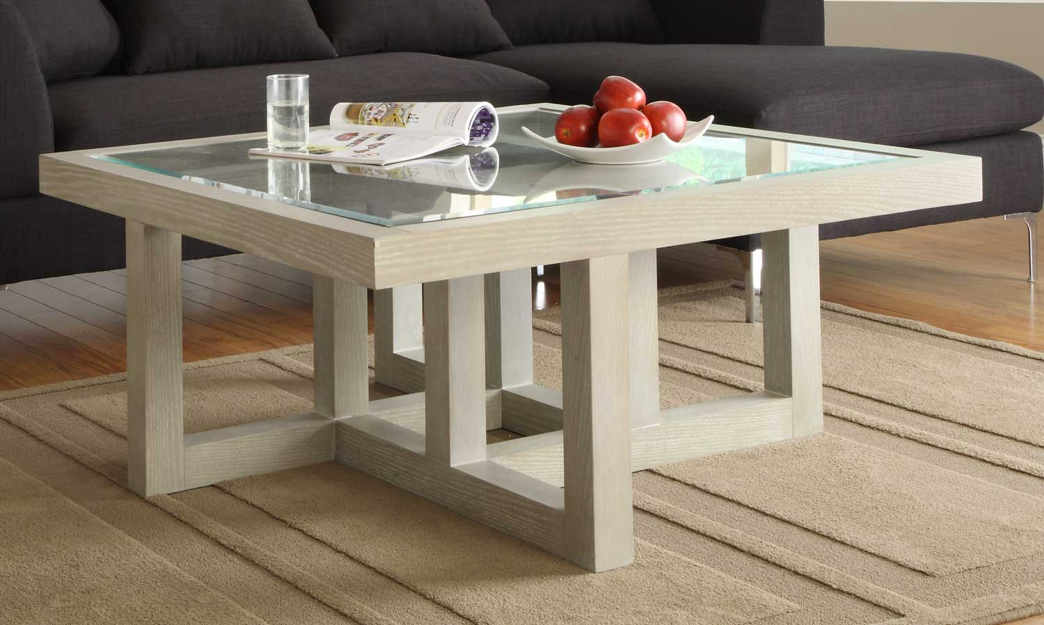 Guerrero square cocktail table grey for Square coffee table set