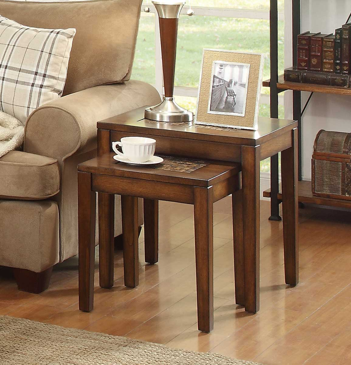 Homelegance Antoni Nesting Tables - Warm Brown Cherry