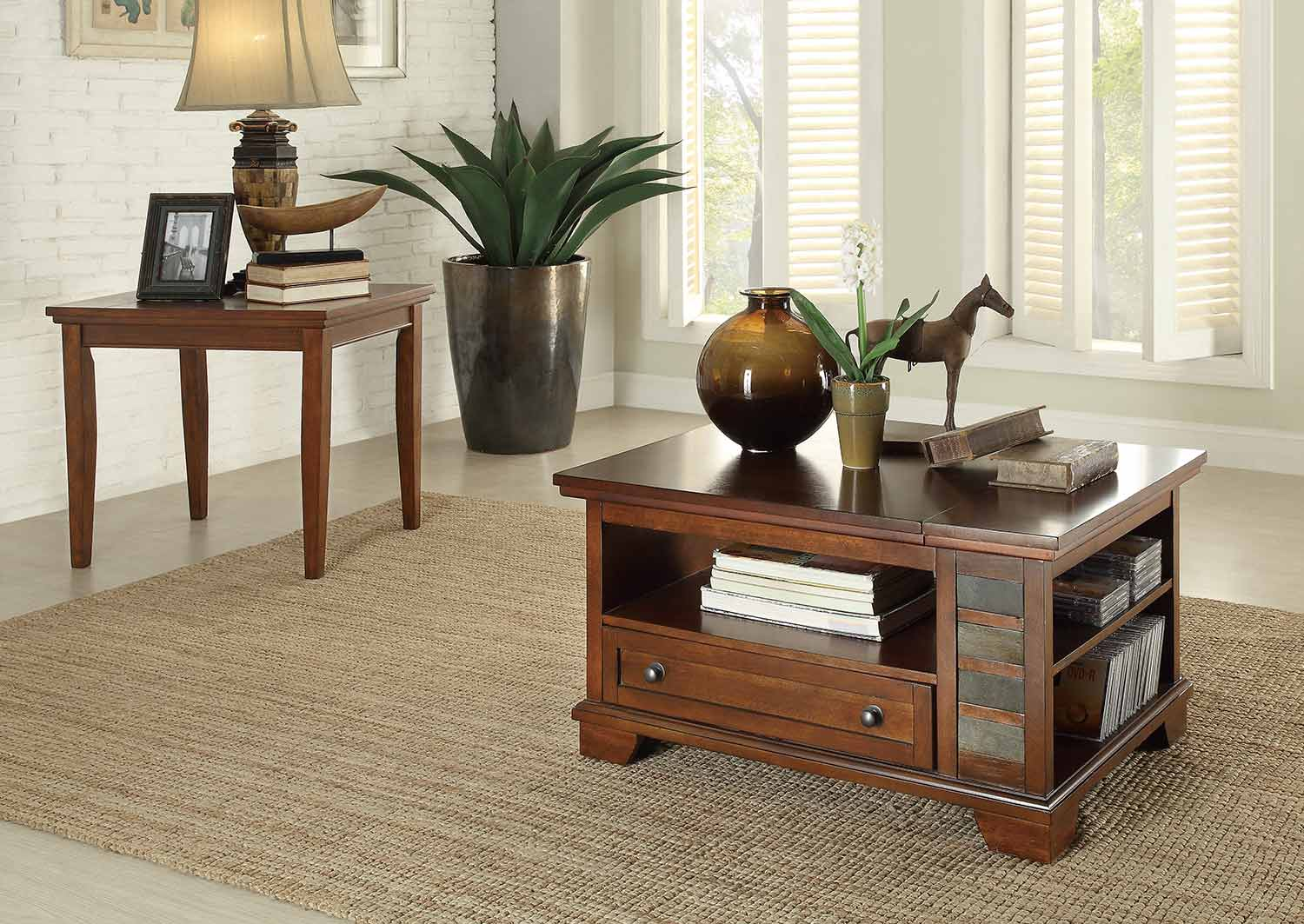 Coffee Table Set Brown With Slate Insert 3523 Occasional Set At