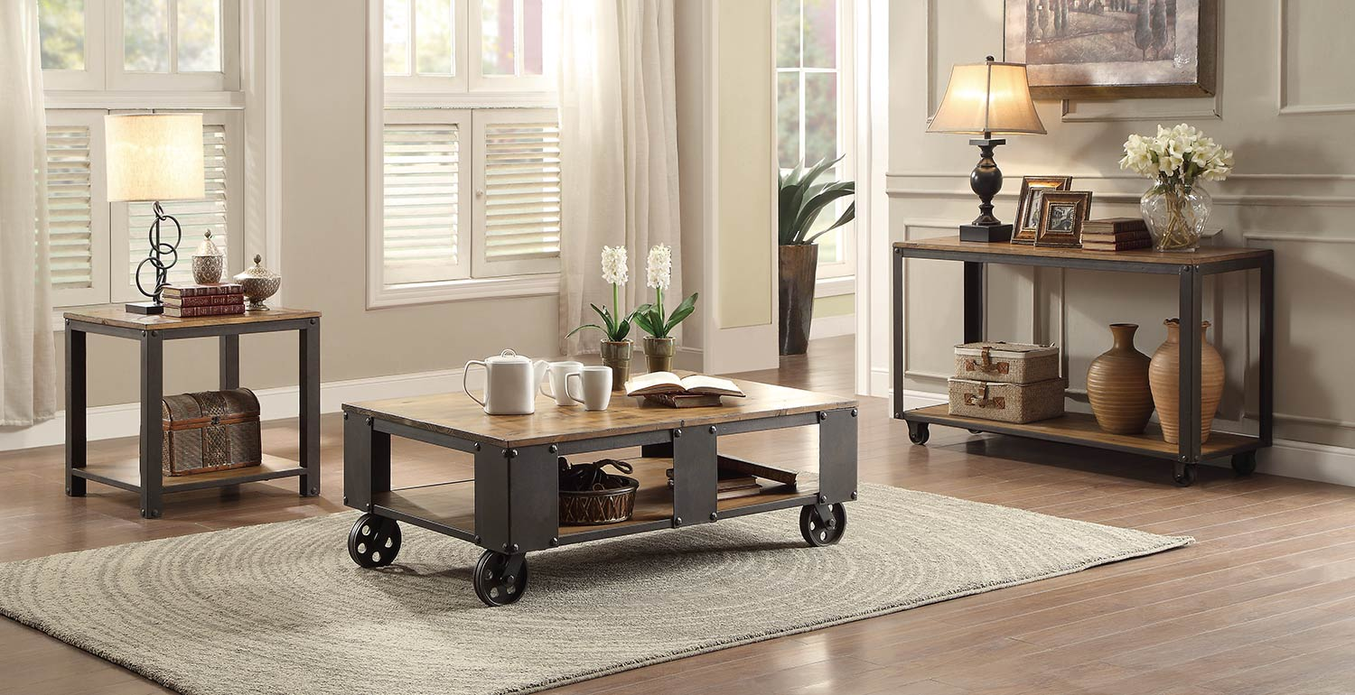 Homelegance Leandra Coffee Table Set - Wood Table Top with Metal Framing
