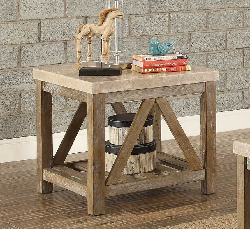 Homelegance Ridley End Table with Marble Top - Weathered Wood Finish