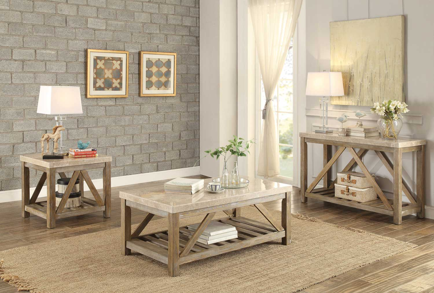 Homelegance Ridley Cocktail/Coffee Table Set - Weathered Wood Finish