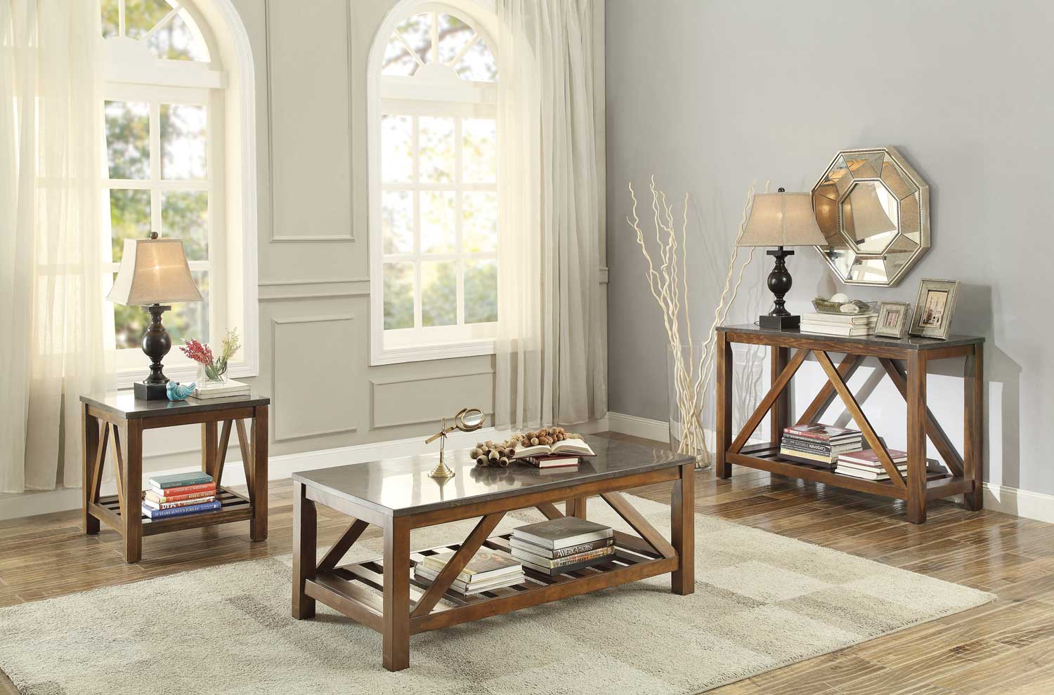 Homelegance Ashby Cocktail Coffee Table Set Marble Tile