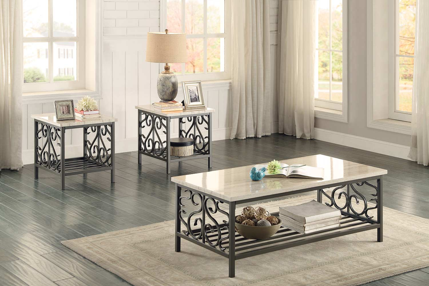 Homelegance Fairhope 3-Piece Occasional Tables with Faux Marble Top