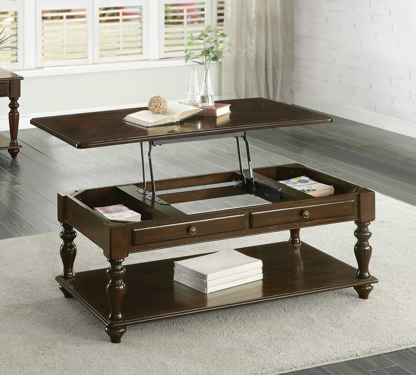 Homelegance Lovington Cocktail Table with Lift Top on Casters - Espresso