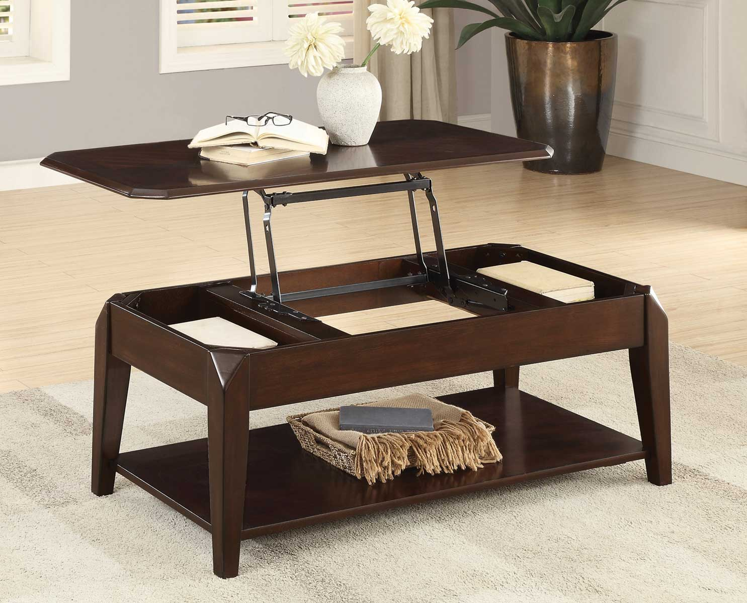 Homelegance Sikeston Cocktail Table with Lift Top on Casters - Warm Cherry