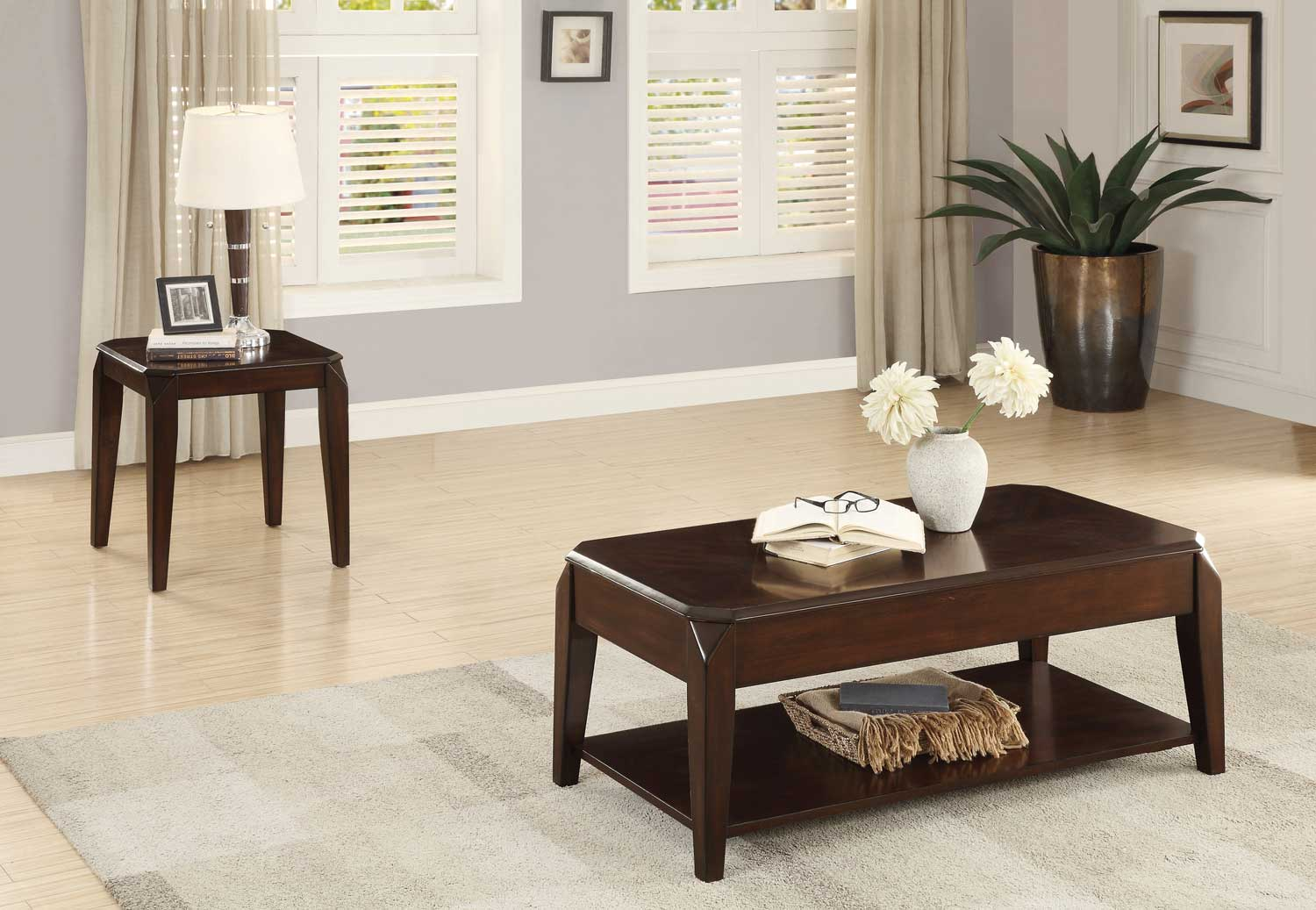 Homelegance Sikeston Cocktail/Coffee Table Set - Warm Cherry