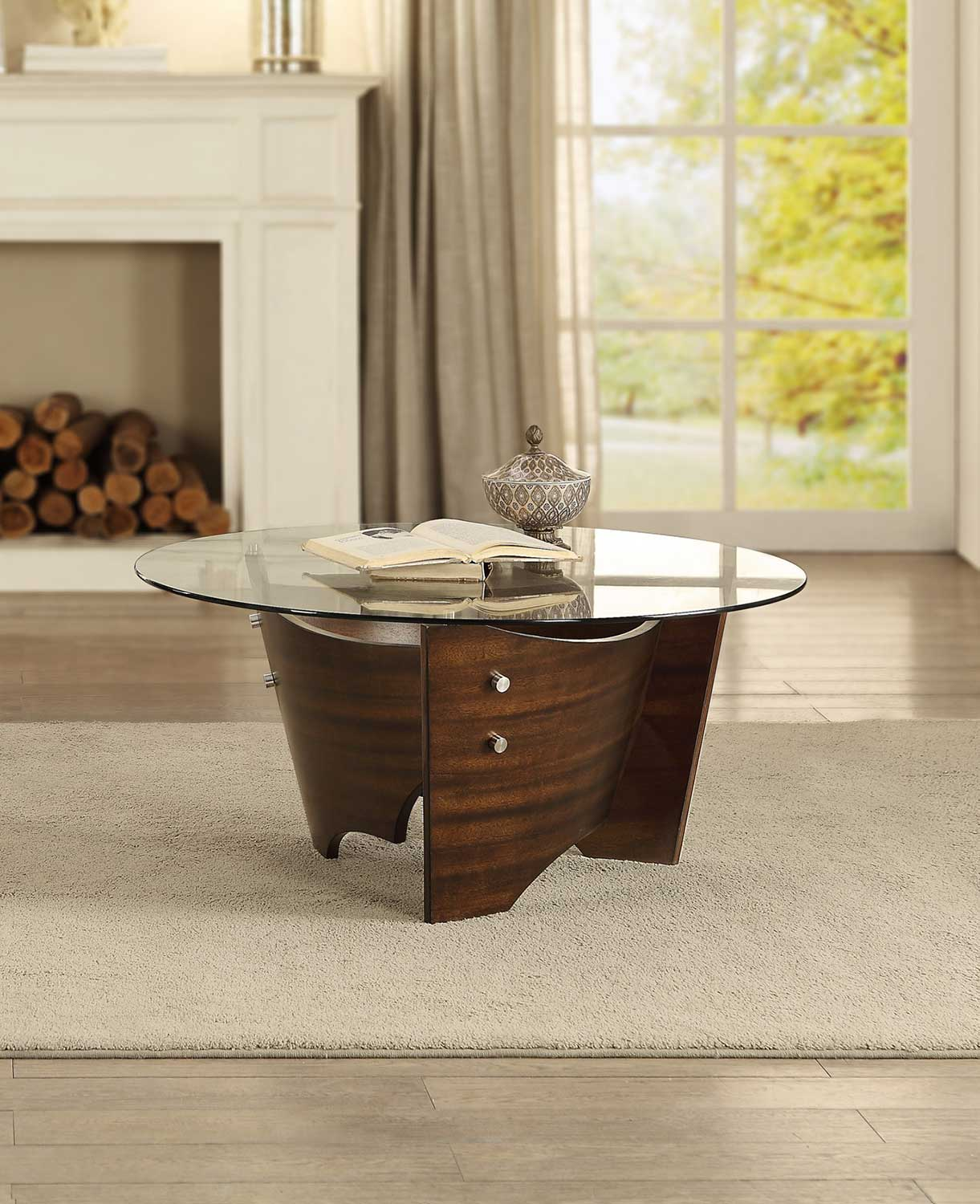 Homelegance Laszlo Round Coffee/Cocktail Table with Glass Top