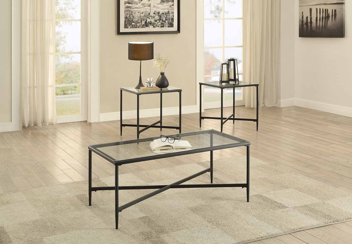 Homelegance Olas 3-Piece Occasional Tables with Glass Top