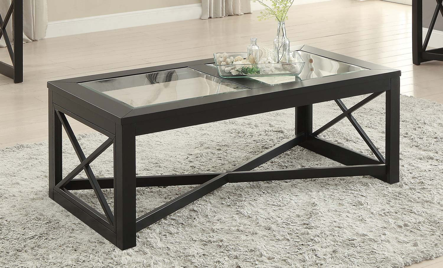 Homelegance Berlin Cocktail Table with Glass Insert - Black Finished Frames