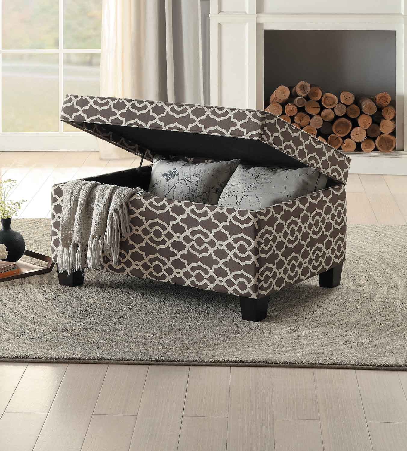 Homelegance Tala Lift-Top Storage Coffee/Cocktail Ottoman - Brown