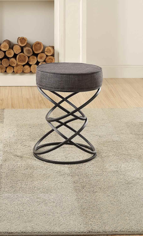 Homelegance Yara Upholstered Stool - Metal Base - Gray Fabric