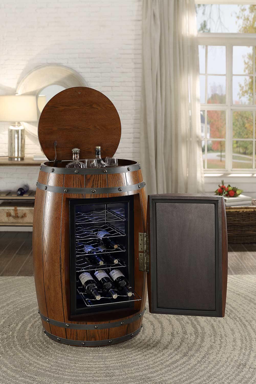 Homelegance Cabernet Wine Barrel Refrigerator Cabinet