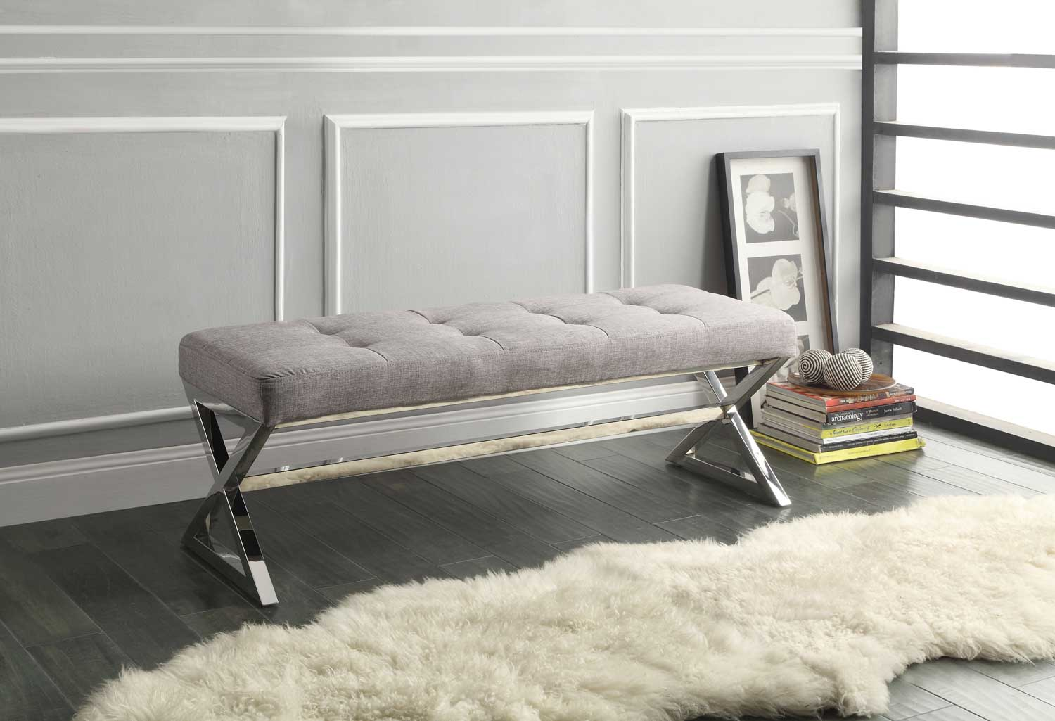 Homelegance Rory X Base Bench Grey Linen 4605gy At