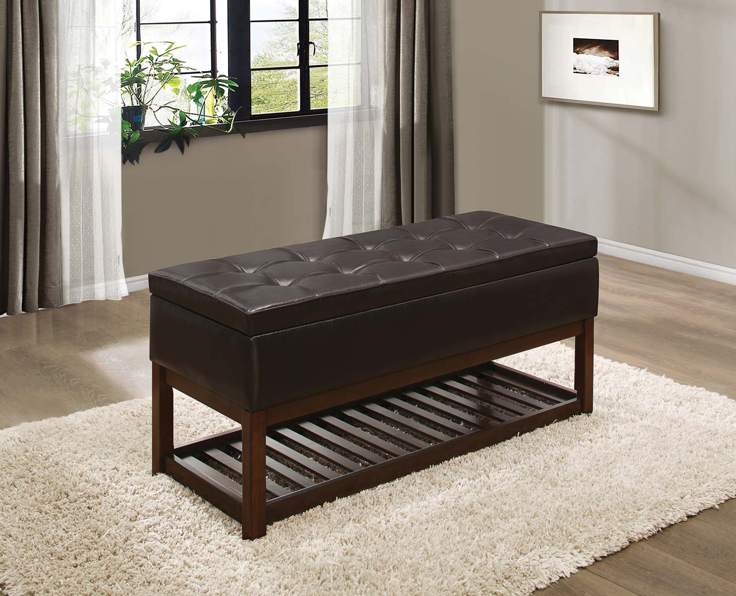 Homelegance Wichfield Lift Top Storage Bench - Dark Brown Bi-Cast Vinyl