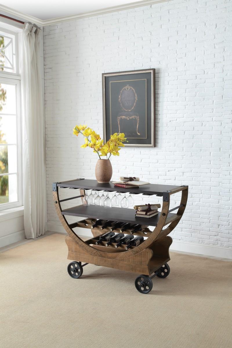 Homelegance Amara Kitchen Cart with Functional Wheels