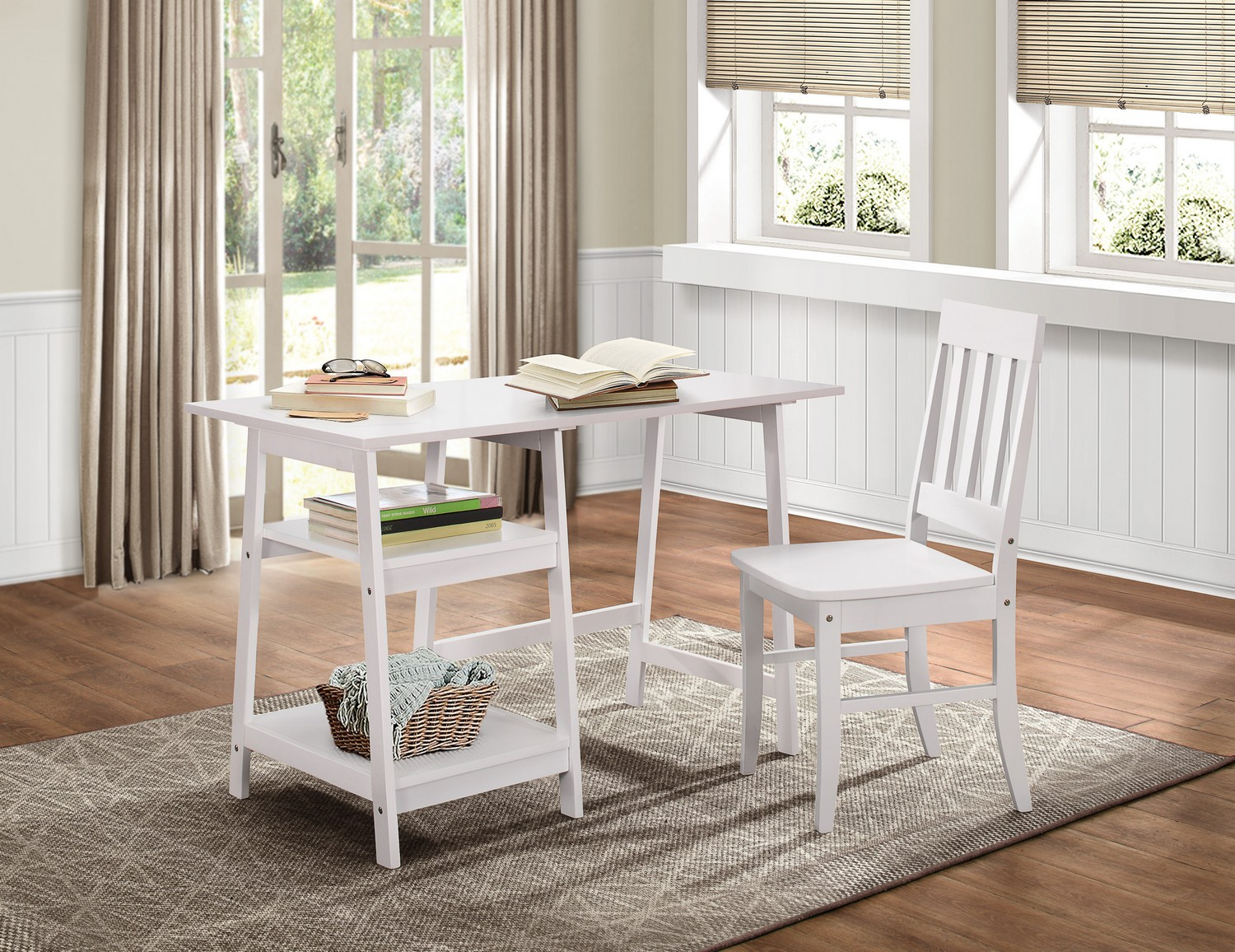 Homelegance Daily Writing Desk and Chair - White