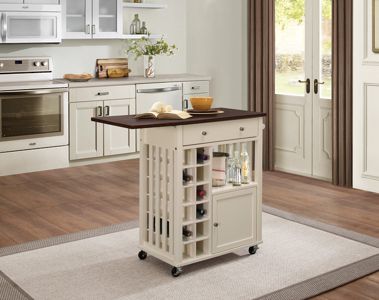 Homelegance Canela Kitchen Cart With Drop Leaf And Casters 4697cm 07 At Homelement