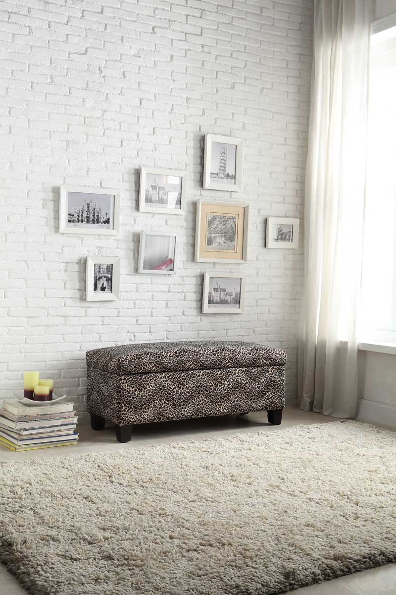 Homelegance Claire Lift Top Storage Bench - Leopard Fabric