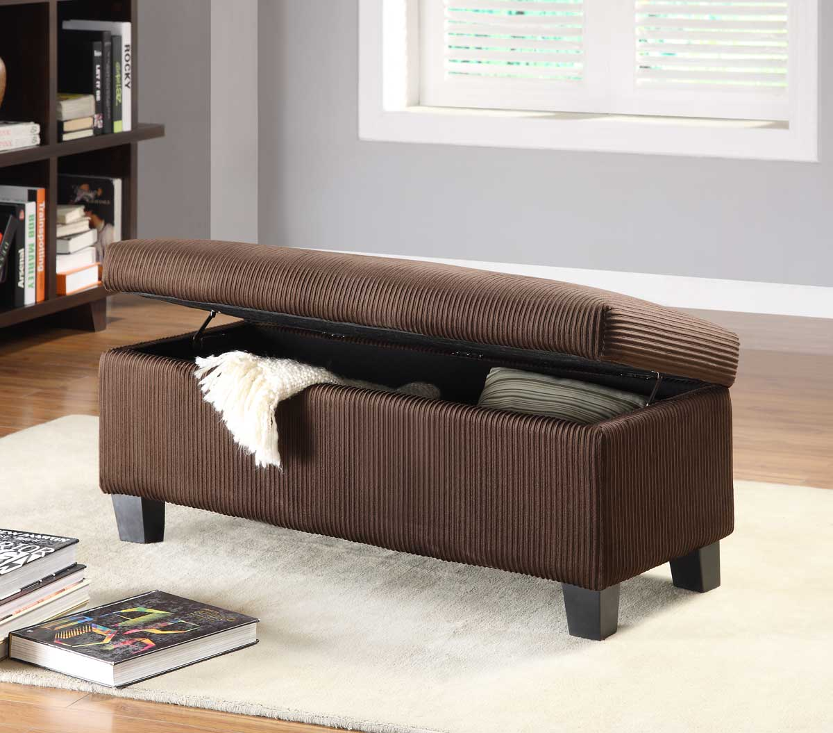 Homelegance Clair Lift Top Storage Bench Ottoman - Chocolate Corduroy