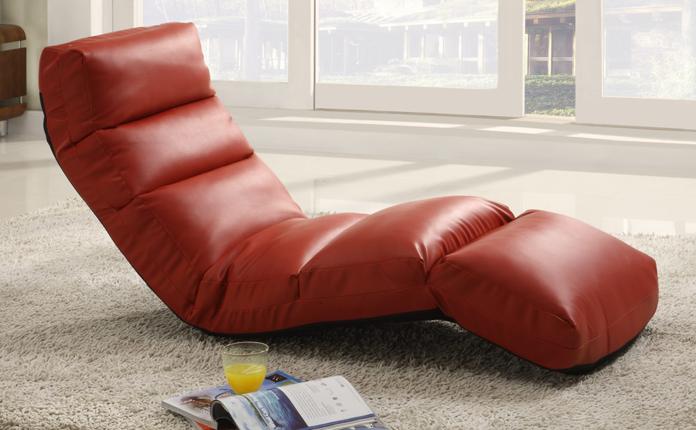 Homelegance Gamer Floor Lounger Chair Red Leatherette 4726RD at Homelement
