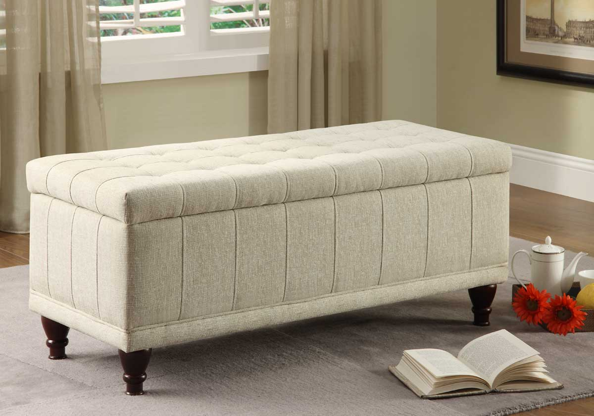 Homelegance Afton Lift Top Storage Bench Ottoman - Cream Fabric