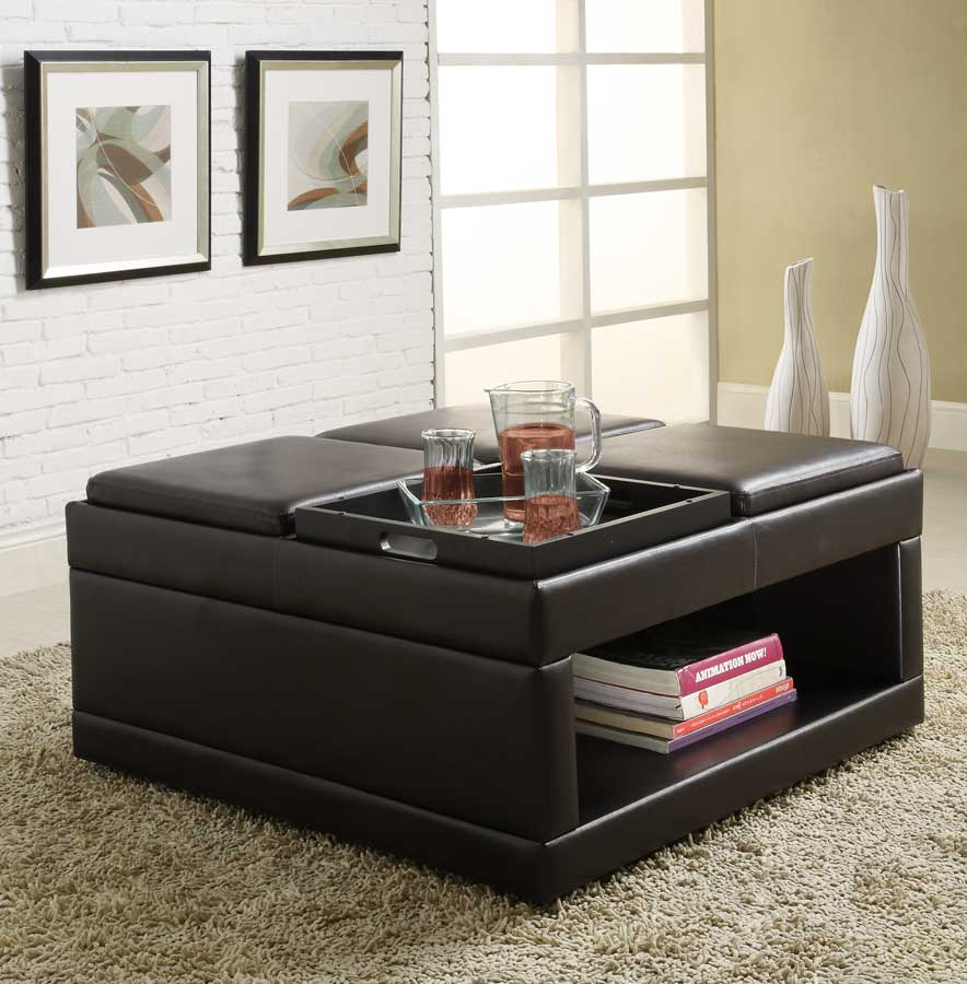 Homelegance Fleming Cocktail Ottoman with 4 Trays