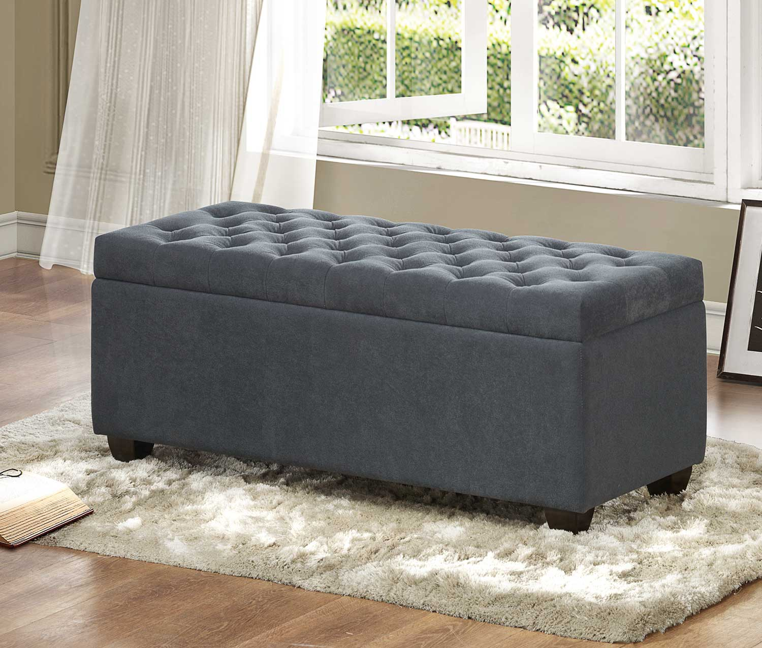 Homelegance Colusa Lift-Top Storage Bench - Neutral Grey Fabric