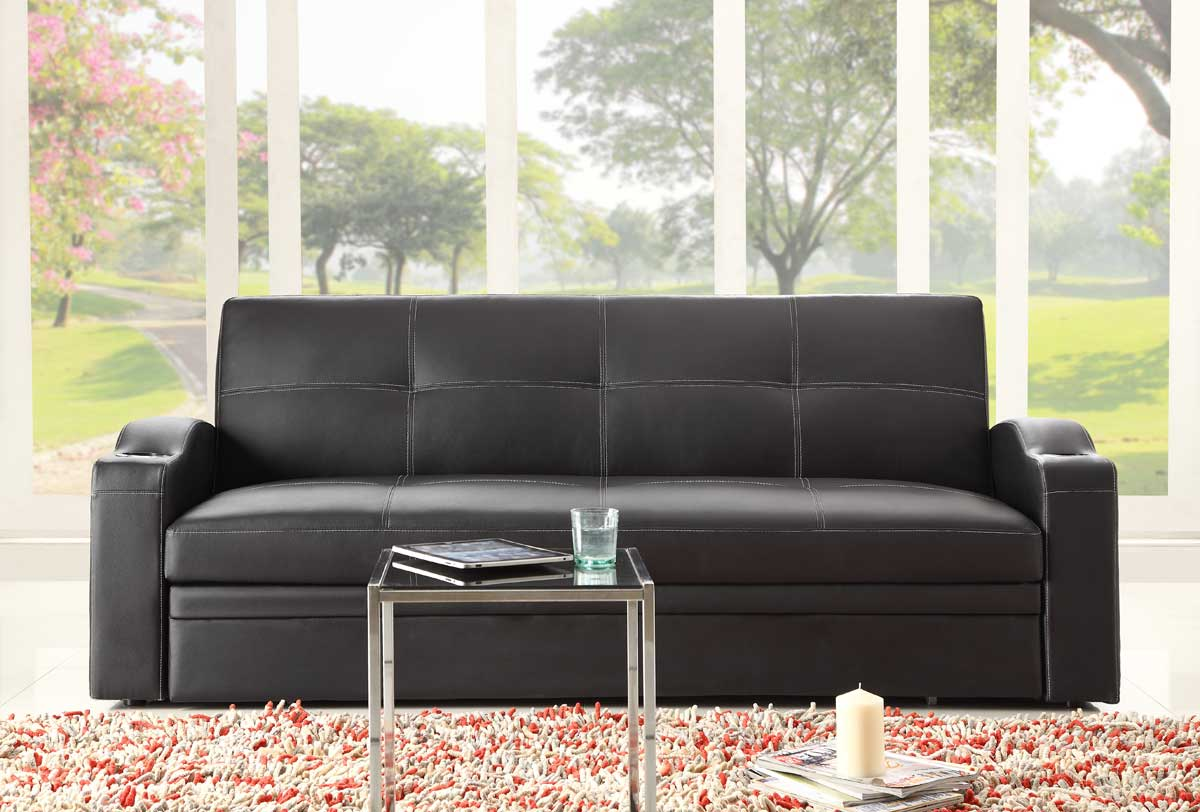 Novak Elegant Lounger Sofa with Pull Out Trundle - Homelegance