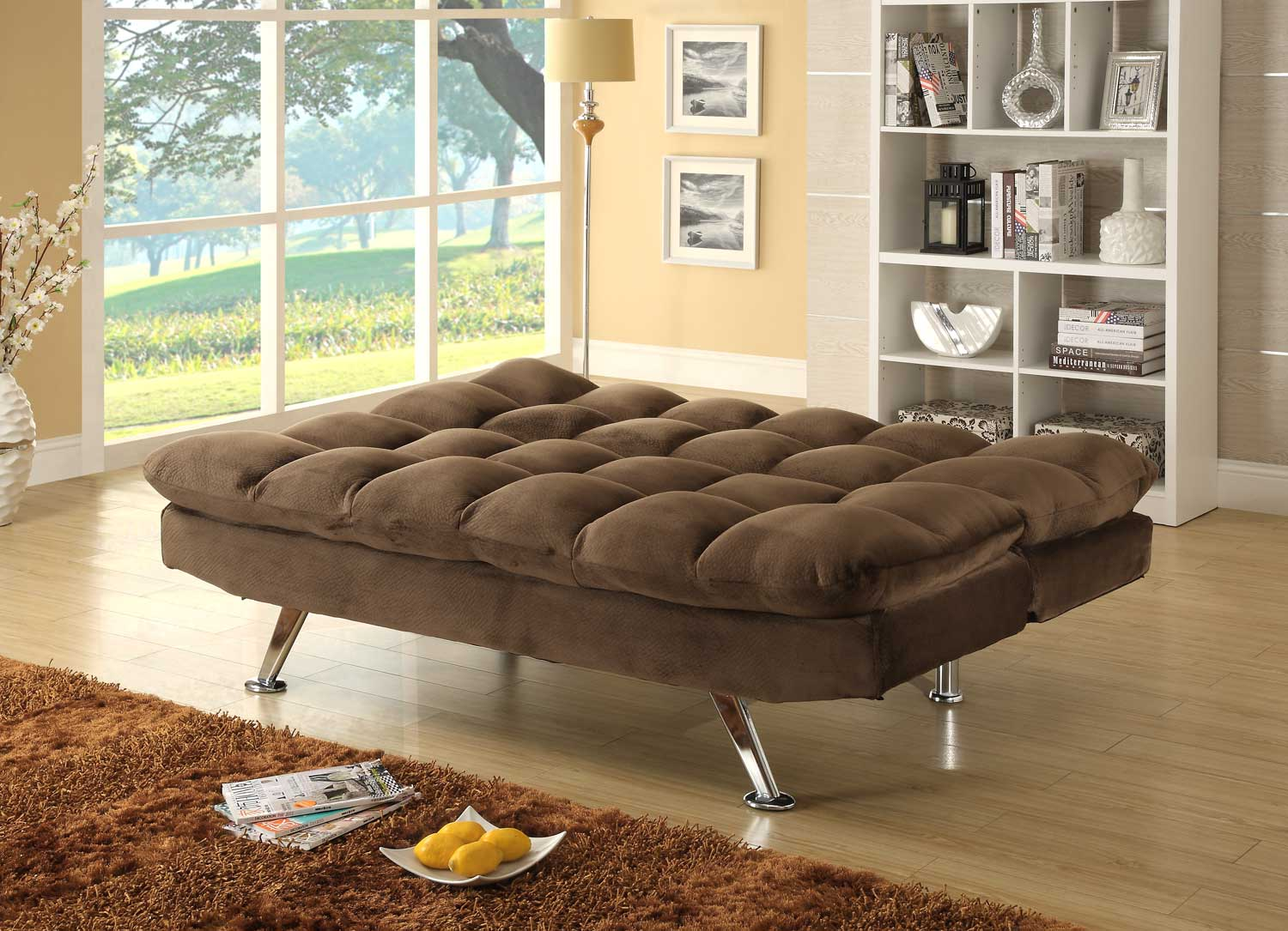 homelegance jazz click clack sofa bed chocolate textured plush microfiber 4809ch at. Black Bedroom Furniture Sets. Home Design Ideas