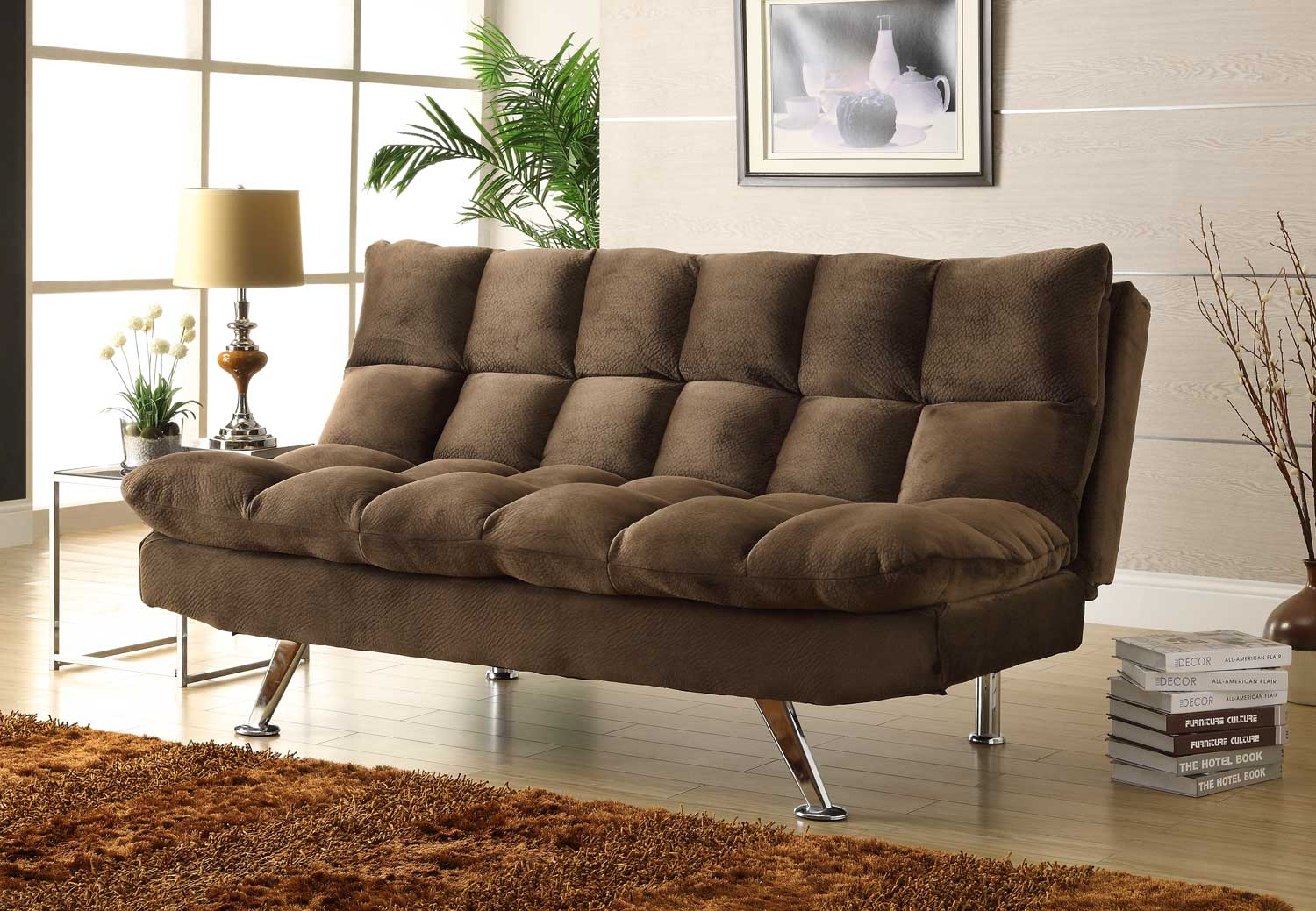 Homelegance Jazz Click-Clack Sofa Bed - Chocolate - Textured Plush Microfiber