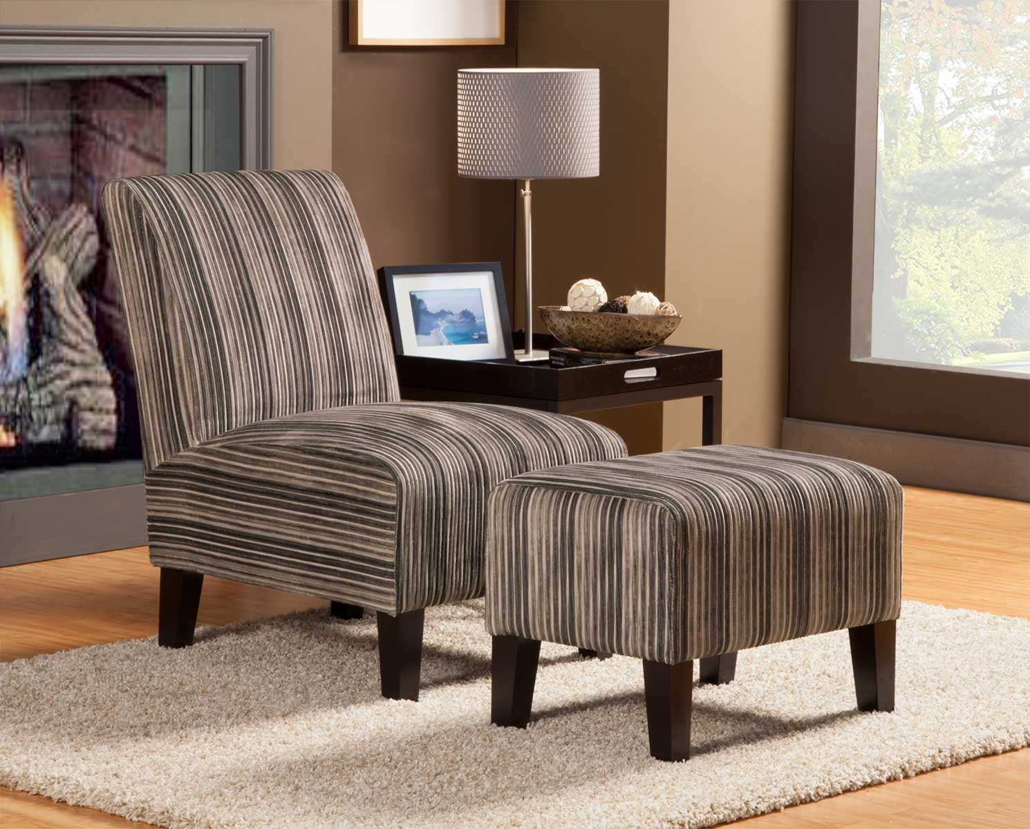 Homelegance Ione Accent Chair and Ottoman - Beige