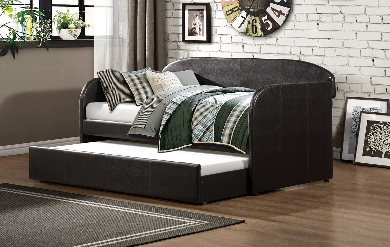 Homelegance Roland Daybed with Trundle - Dark Brown Bi-Cast Vinyl