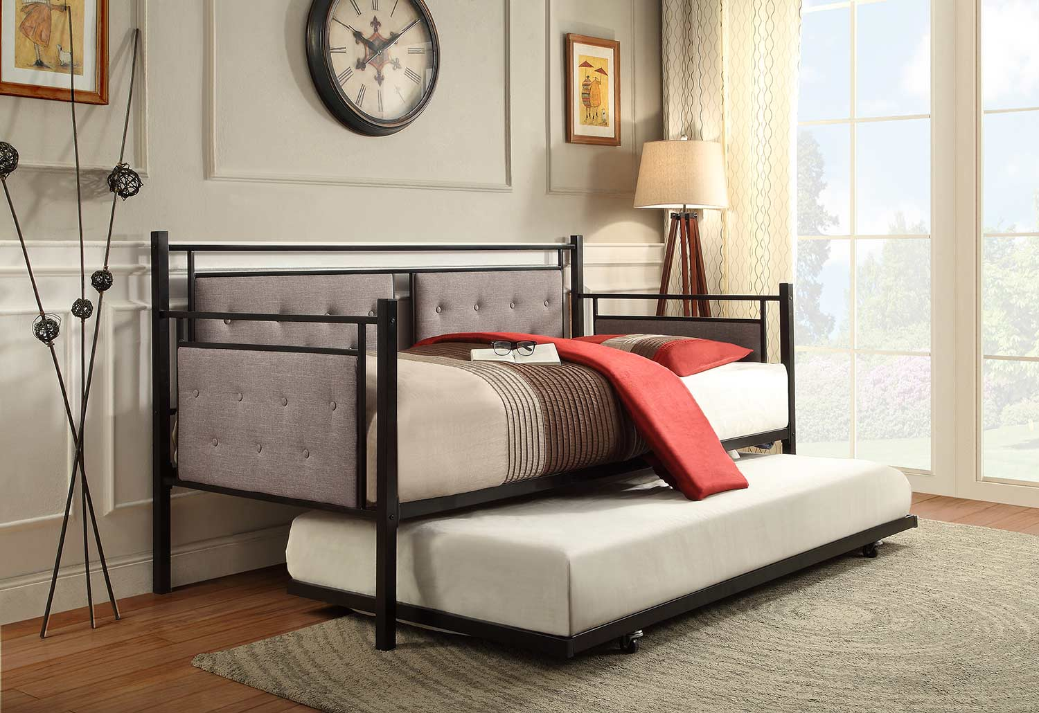 Homelegance Jones Metal Daybed with Trundle - Black