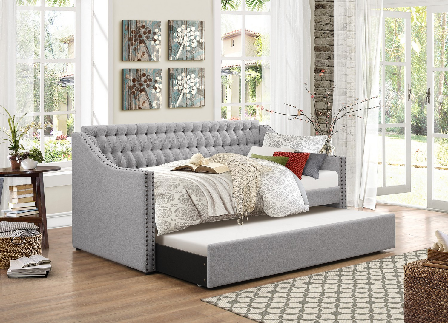 Grey Twin Trundle Bed
