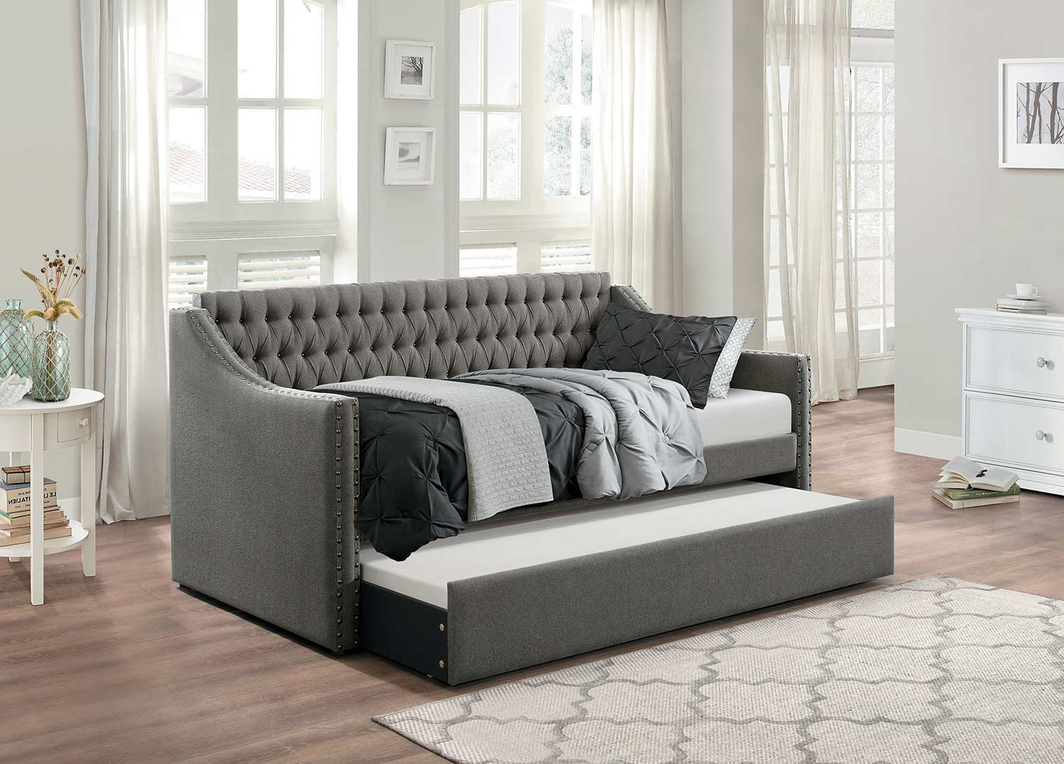 Homelegance Tulney Button Tufted Upholstered Daybed with Trundle - - Dark Gray