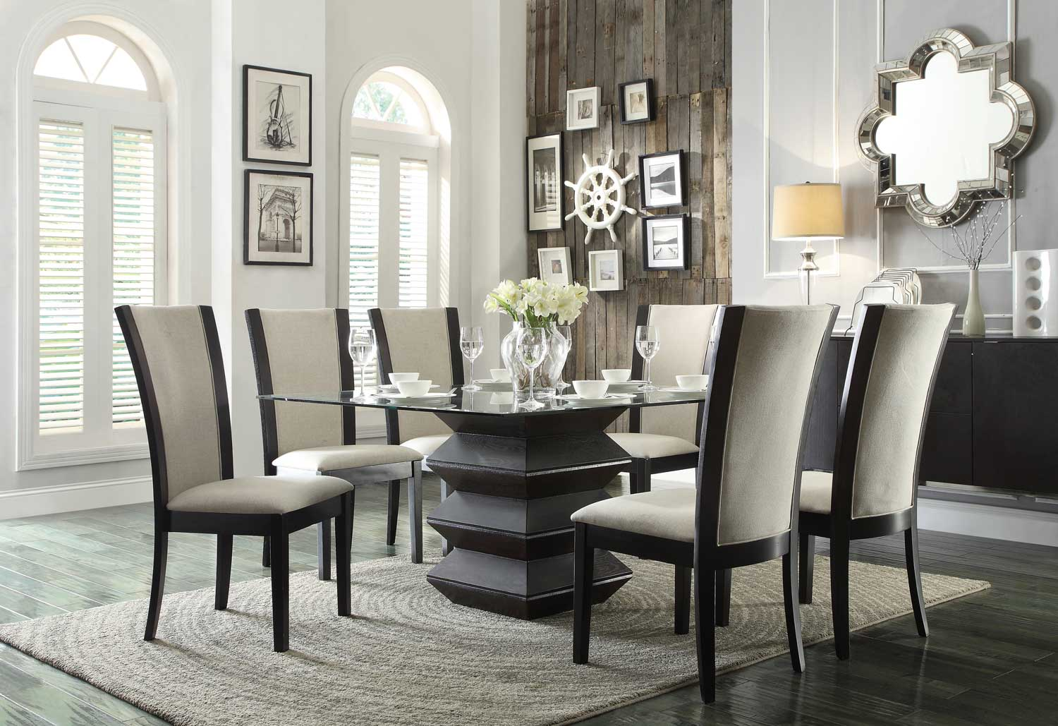 Homelegance Havre Dining Set - Beige Fabric Chairs