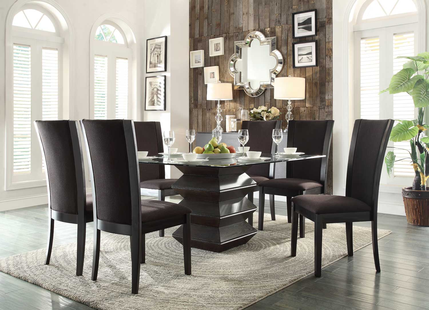 Homelegance Havre Dining Set - Dark Brown Fabric Chairs