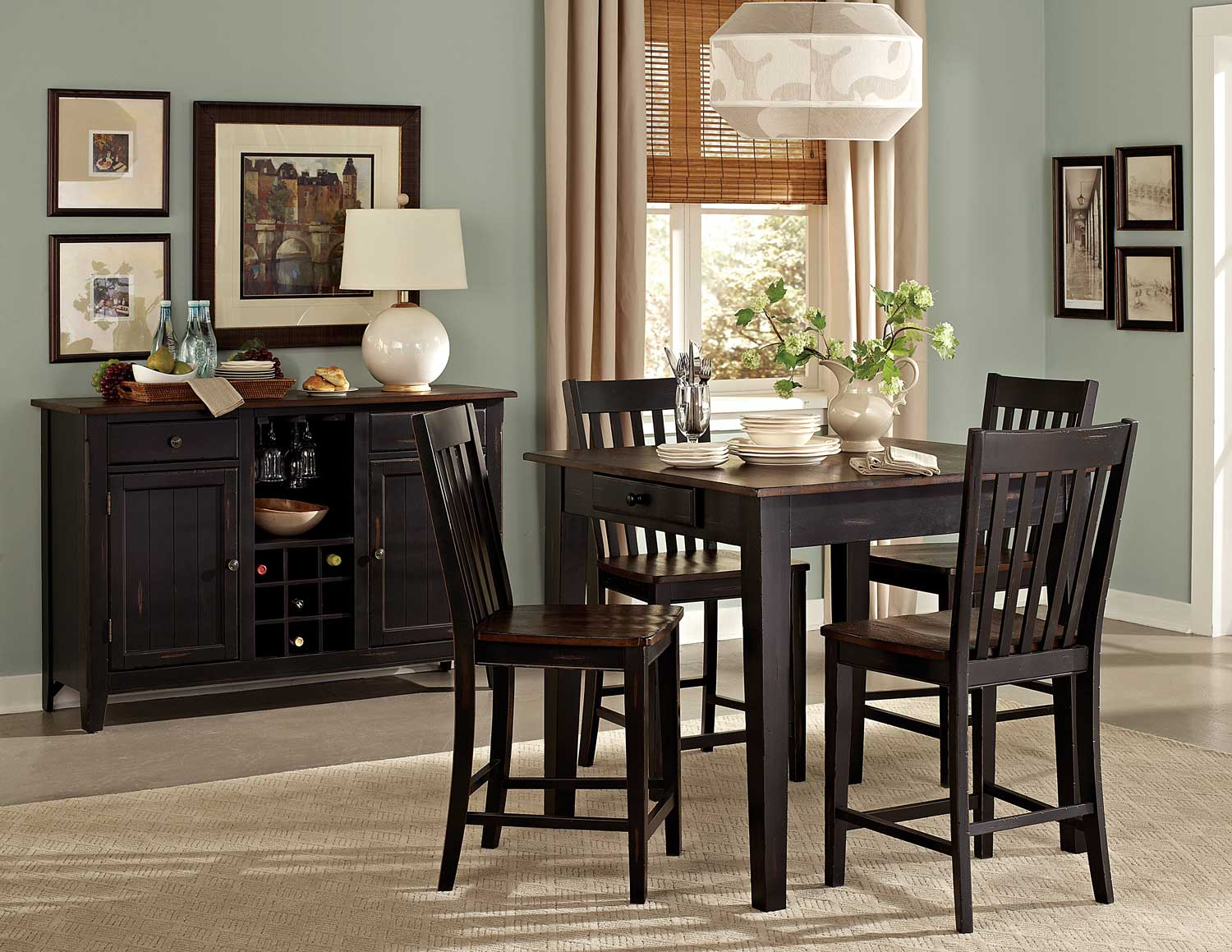 Homelegance Three Falls Counter Height Dining Set With Storage - Two Tone Dark Brown/Black Sand