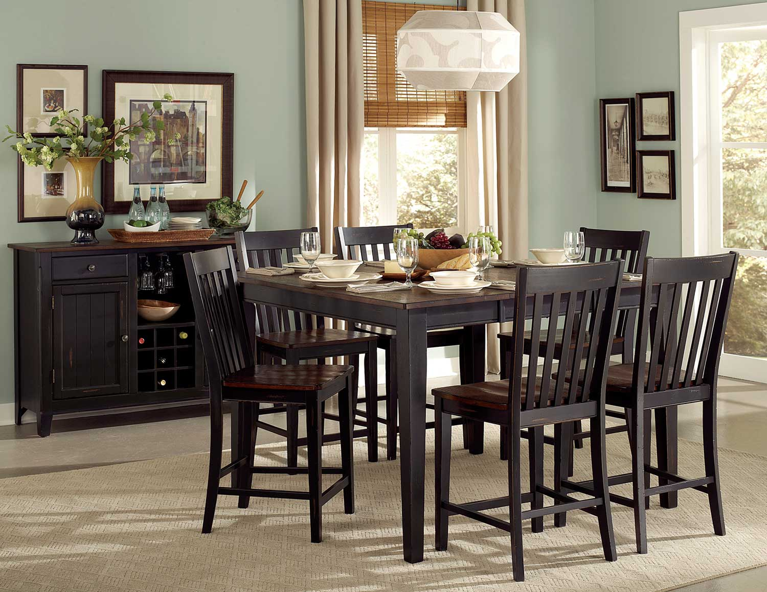 Homelegance Three Falls Counter Height Dining Set - Two Tone Dark Brown/Black Sand