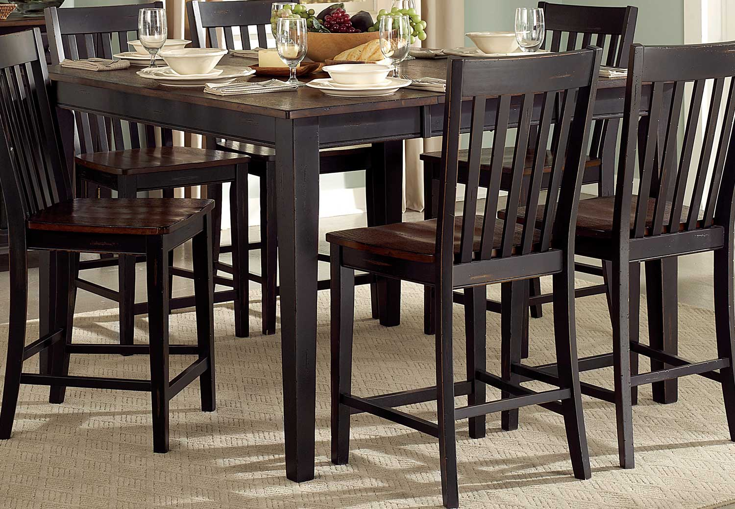 Homelegance Three Falls Counter Height Table - Two Tone Dark Brown/Black Sand