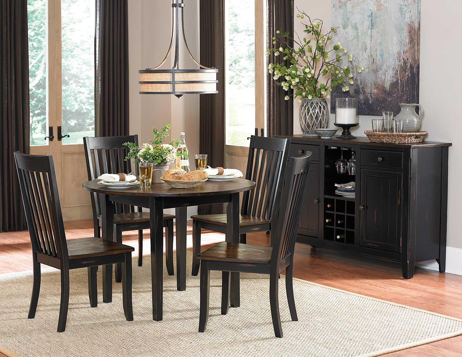 Homelegance Three Falls Round Dining Set - Two Tone Dark Brown/Black Sand