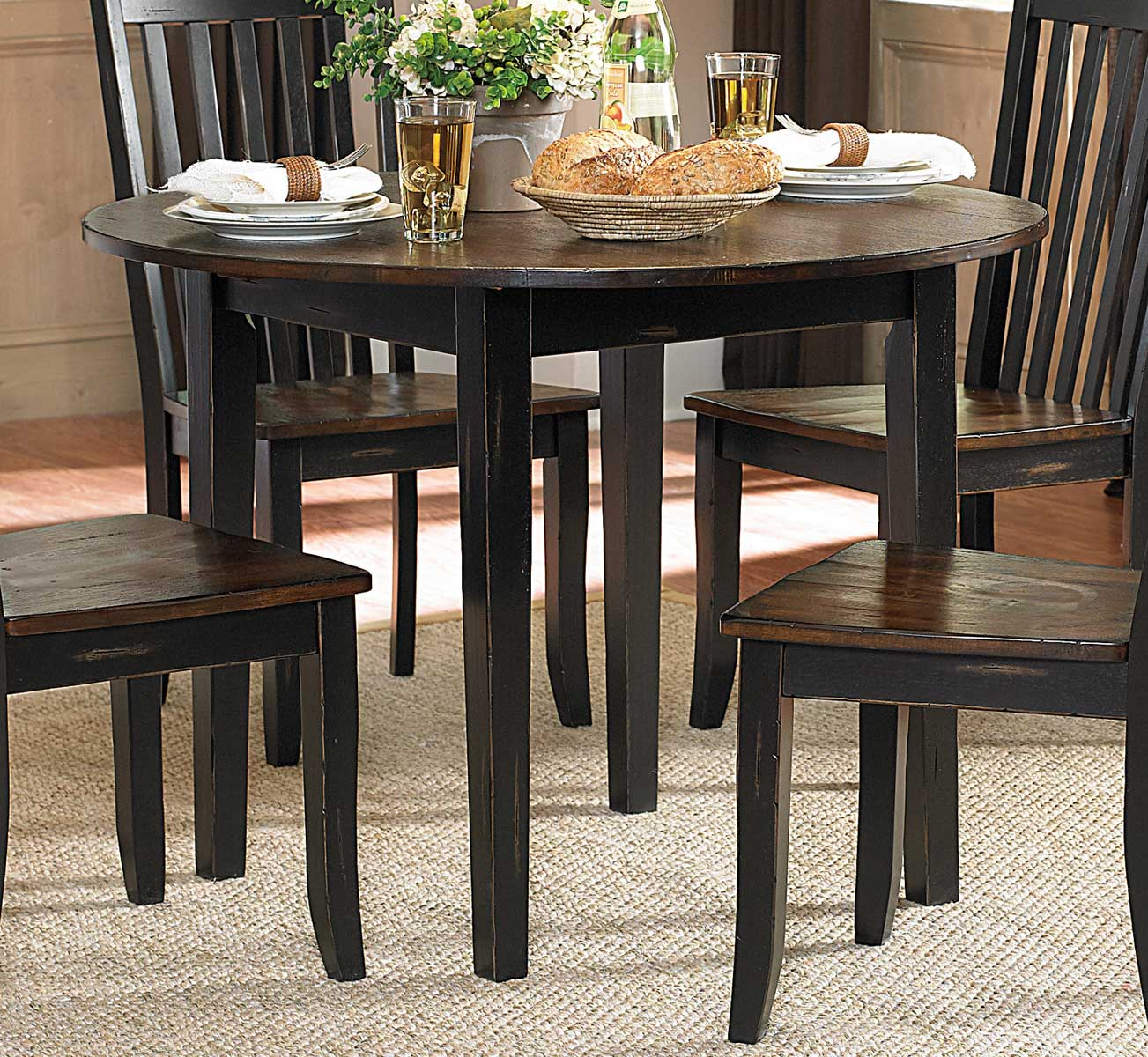 Homelegance three falls round dining table with drop leaf for Black dining table with leaf