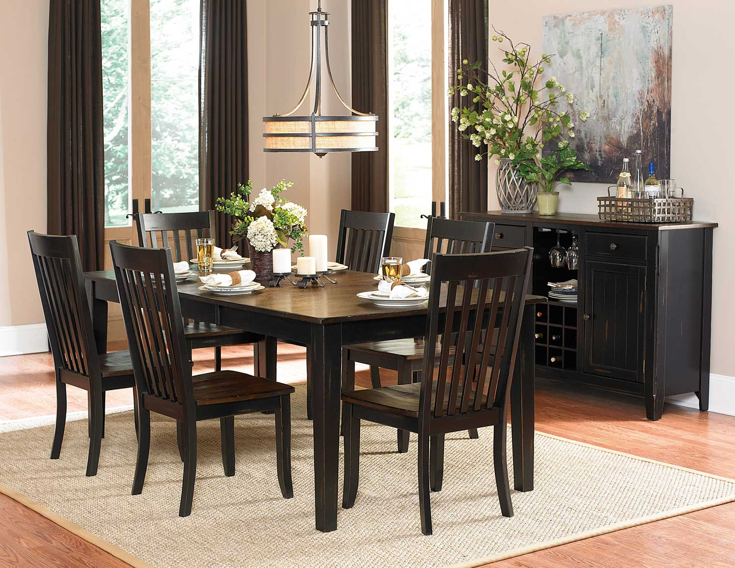 Homelegance Three Falls Rectangular Dining Set - Two Tone Dark Brown/Black Sand