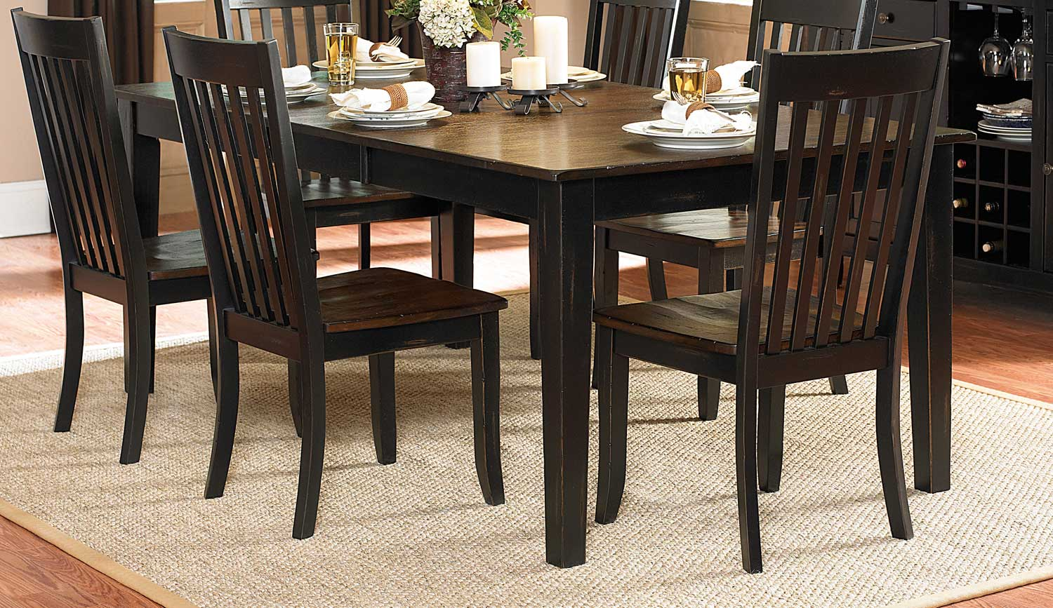Homelegance Three Falls Rectangular Dining Table - Two Tone Dark Brown/Black Sand