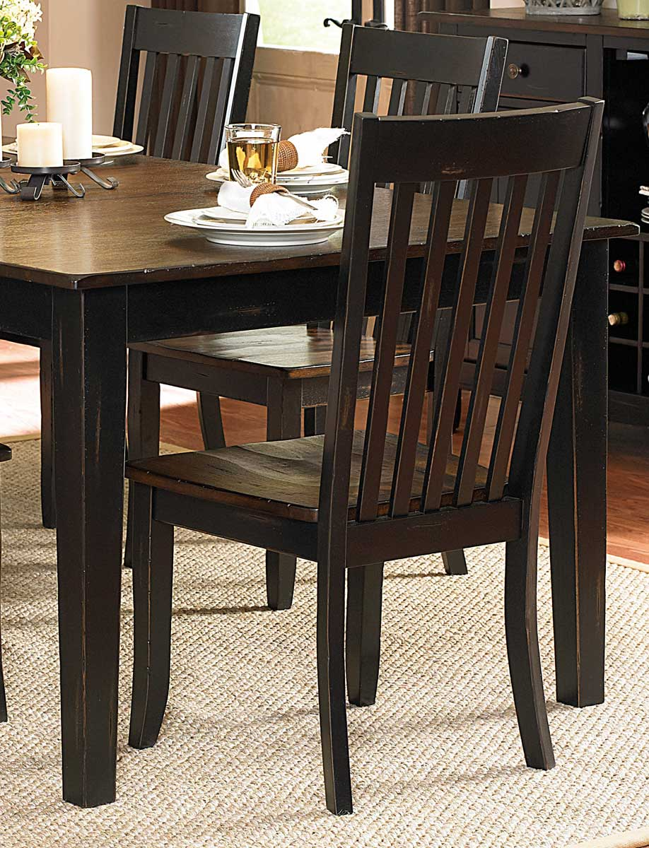Homelegance Three Falls Side Chair - Slat Back - Two Tone Dark Brown/Black Sand